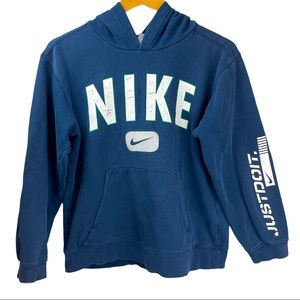Vintage 90s Nike Spellout Blue Boxy Hoodie